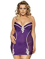 Women Elegant Purple Stitching  Color Transparent Laceharnesses Gauze Plump Large Size Lingerie