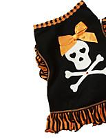 Gatos / Perros Disfraces / Camiseta Negro / Dorado Verano / Primavera/Otoño Lazo / Cráneos Cosplay / Halloween