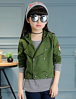 Girl's Casual/Daily Solid Trench Coat,Faux Fur / Cotton Winter / Spring / Fall Green