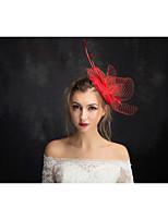 Dame Blonde / Fjær / Linfrø / Nett Headpiece-Spesiell Leilighet fascinators 1 Deler Klar Annerledes 15