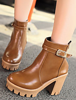Boots Winter Combat Boots PU Casual Chunky Heel Buckle Brown / White