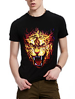 Men's Summer Casual Sport Flame Wolf Tiger T-Shirt In Spring And Summer