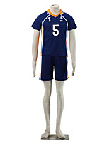 Inspired by Haikyuu Takeda Iitetsu Anime Cosplay Costumes Cosplay Suits Color Block Blue / Orange Short Sleeve T-shirt / Shorts