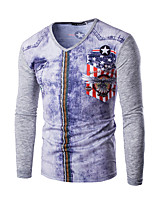 Men's Print / Patchwork Casual / Sport T-Shirt,Cotton Long Sleeve-Black / White