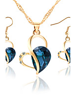 Heart Shaped Crystal Earrings Necklace Set Beautiful Bride Jewelry Set