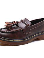 Черный / Желтый / Бордовый-Женский-На каждый день-Дерматин-На плоской подошве-Удобная обувь / С круглым носком / С закрытым носком-Туфли