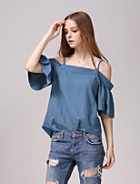 Women's Solid Blue Blouse,Strap ¾ Sleeve