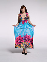 Women's Beach / Plus Size Boho Swing Dress,Floral V Neck Maxi Sleeveless Blue Rayon / Polyester Summer