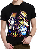 Men's  Rock Band And Lion Printing Design Round Neck 3D Cotton T-shirt
