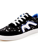 Men's Shoes Canvas Athletic Flats Athletic Sneaker Flat Heel Lace-up Black / Blue
