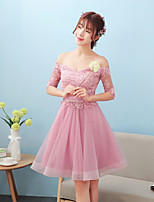 Short / Mini Lace / Satin Bridesmaid Dress A-line Off-the-shoulder with Lace / Sash / Ribbon