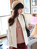 Women's Casual/Daily Simple Coat,Solid Round Neck Long Sleeve Winter Pink / Beige Wool Thick