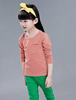 Girl's Casual/Daily Striped Tee,Cotton Spring / Fall Blue / Red