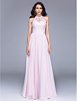 TS Couture® Formal Evening Dress A-line Jewel Floor-length Chiffon / Lace with Lace / Ruching