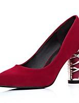 Homme-Bureau & Travail / Décontracté-Noir / Bleu / Rouge-Gros Talon-Talons / Bout Carré-Chaussures à Talons-Laine synthétique