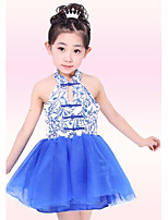 Ballet Outfits Children's Performance Polyester / Metal Pattern/Print 1 Piece Blue Ballet Sleeveless Natural Dress
