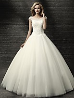 Ball Gown Wedding Dress-Ivory Floor-length Jewel Tulle