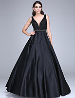 TS Couture® Formal Evening Dress Ball Gown V-neck Floor-length Satin with Beading / Sash / Ribbon