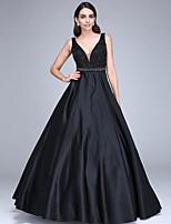 Serata formale Vestito Da ballo A V Lungo Raso con Perline / Fascia / fiocco in vita