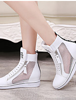 Women's Shoes Leather Spring / Summer Round Toe Sandals Casual Wedge Heel Zipper Black / Red / White