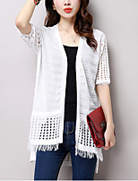 Women's Going out / Casual/Daily Boho Regular Cardigan,Jacquard White Boat Neck Short Sleeve Cotton / Linen Summer