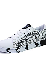 Men's Flats Spring / Fall Round Toe Suede Athletic Flat Heel Lace-up Black / Blue / White / Black and White Sneaker