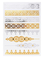 1pc Flash Metallic Waterproof Tattoo Gold Silver Spindrift Bracelet Lace Temporary Tattoo Sticker YH-034