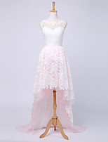 Ball Gown Wedding Dress Asymmetrical Bateau Lace / Tulle with Button / Lace