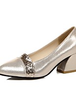 Women's Heels Summer / Fall Heels / Round Toe PU Office & Career / Casual Chunky Heel Sequin Black / Silver / Gold