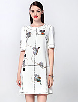 Boutique S Women's Going out Sophisticated A Line Dress,Embroidered Round Neck Above Knee Short Sleeve White Cotton
