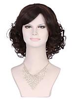 moda de color negro longitud media pelucas rizadas de las mujeres de calidad superior con la explosión lateral