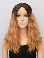 Fashion Heat Resistant Synthetic Wigs Curly Natural Wave Mixed Color Synthetic Wigs for Women