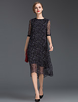 Women's Going out Simple Loose Dress,Polka Dot Round Neck Midi ½ Length Sleeve Black Silk Summer Mid Rise