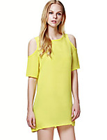 Women's Simple Solid Off-The-Shoulder Cut Out Plus Size Loose / Chiffon Dress