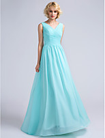 Lanting Bride Floor-length Chiffon Bridesmaid Dress A-line V-neck with Criss Cross