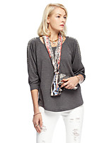Women's Going out Simple Spring / Fall Blouse,Solid Round Neck ¾ Sleeve Gray Polyester / Spandex Thin