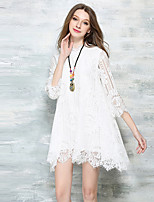 Women's Vintage / Boho Solid A Line / Lace Dress,Round Neck Above Knee Polyester / Spandex