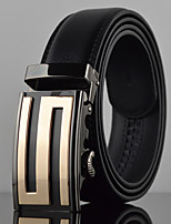 Men S Icon Business Automatic Buckle Genuine Leather Wide Belt,Work / Casual