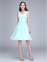 Short / Mini Chiffon Bridesmaid Dress Sheath / Column V-neck with Draping / Criss Cross