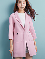 Women's Going out Simple Coat,Solid Shirt Collar ¾ Sleeve Winter Pink / Green Wool Thick