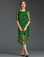 Women's Going out Simple Sheath Dress,Floral Round Neck Midi ½ Length Sleeve Red / Green / Yellow Silk Summer Mid Rise