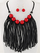 European Style Fashion Metal Leather Tassel Wild Candy Beads Necklace Earring Set