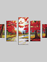 JAMMORY Canvas Set Landscape Modern,Five Panels Gallery Wrapped, Ready To Hang Vertical Print No Frame Red Maple Trees