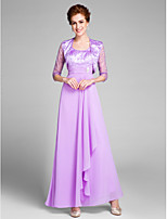 Lanting Bride Sheath / Column Mother of the Bride Dress Ankle-length 3/4 Length Sleeve Chiffon with Crystal Detailing / Ruching