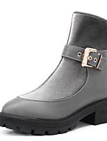 Chaussures Femme-Extérieure / Bureau & Travail / Habillé-Noir / Gris-Plateforme-Rangers / Bout Arrondi / Bottes à la Mode-Bottes-