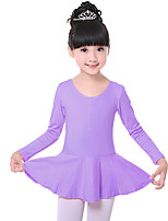 Ballet Dresses Children's Training Cotton Ruched 1 Piece Sweet Fashion Ballet Long Sleeve Natural Dress