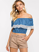 Women's Casual/Daily Street chic Summer T-shirt,Patchwork Boat Neck Short Sleeve Blue Others Medium