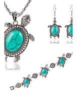 Fashion Metal Little Turtle Turquoise Silver Alloy Pendant Necklace + Earrings + Bracelet  Three-piece