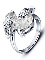 2016 Fashion  White Zircon Rhodium Plated Alloy Party Rings For Women
