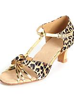 Chaussures de danse(Léopard) -Personnalisables-Talon Personnalisé-Satin / Similicuir-Latine